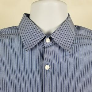Hugo Boss Sharp Fit Blue Striped Shirt 16 32/33